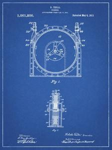 PP1097-Blueprint Tesla Turbine Patent Poster by Cole Borders