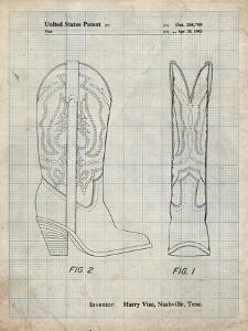 PP1098-Antique Grid Parchment Texas Boot Company 1983 Cowboy Boots Patent Poster by Cole Borders