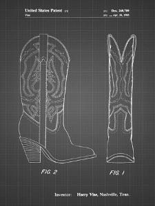 PP1098-Black Grid Texas Boot Company 1983 Cowboy Boots Patent Poster by Cole Borders
