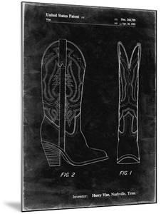 PP1098-Black Grunge Texas Boot Company 1983 Cowboy Boots Patent Poster by Cole Borders
