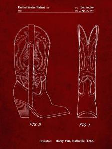 PP1098-Burgundy Texas Boot Company 1983 Cowboy Boots Patent Poster by Cole Borders