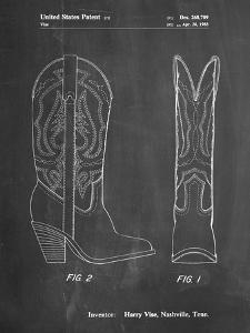 PP1098-Chalkboard Texas Boot Company 1983 Cowboy Boots Patent Poster by Cole Borders