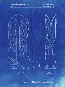PP1098-Faded Blueprint Texas Boot Company 1983 Cowboy Boots Patent Poster by Cole Borders