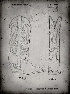PP1098-Faded Grey Texas Boot Company 1983 Cowboy Boots Patent Poster by Cole Borders