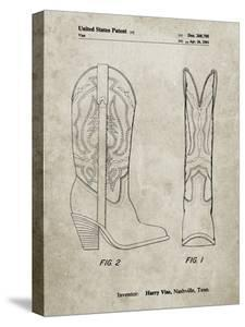 PP1098-Sandstone Texas Boot Company 1983 Cowboy Boots Patent Poster by Cole Borders