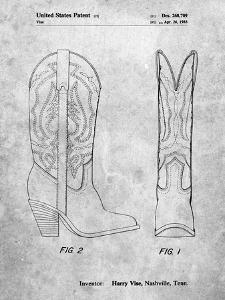 PP1098-Slate Texas Boot Company 1983 Cowboy Boots Patent Poster by Cole Borders