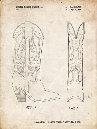 PP1098-Vintage Parchment Texas Boot Company 1983 Cowboy Boots Patent Poster