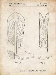 PP1098-Vintage Parchment Texas Boot Company 1983 Cowboy Boots Patent Poster by Cole Borders