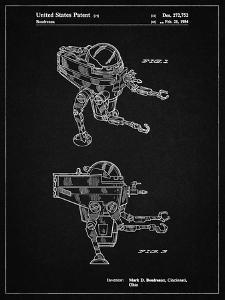 PP1107-Vintage Black Mattel Space Walking Toy Patent Poster by Cole Borders