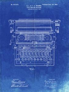 PP1118-Faded Blueprint Underwood Typewriter Patent Poster by Cole Borders
