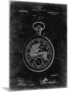 PP112-Black Grunge U.S. Watch Co. Pocket Watch Patent Poster by Cole Borders