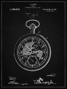 PP112-Vintage Black U.S. Watch Co. Pocket Watch Patent Poster by Cole Borders