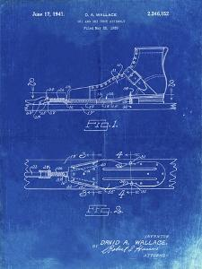 PP1124-Faded Blueprint Vintage Ski's Patent Poster by Cole Borders