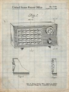 PP1126-Antique Grid Parchment Vintage Table Radio Patent Poster by Cole Borders