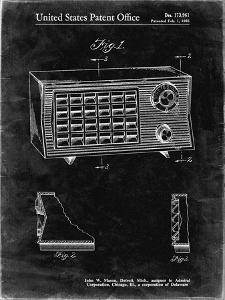 PP1126-Black Grunge Vintage Table Radio Patent Poster by Cole Borders