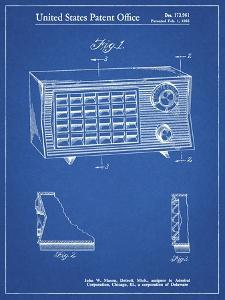 PP1126-Blueprint Vintage Table Radio Patent Poster by Cole Borders
