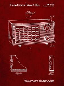 PP1126-Burgundy Vintage Table Radio Patent Poster by Cole Borders