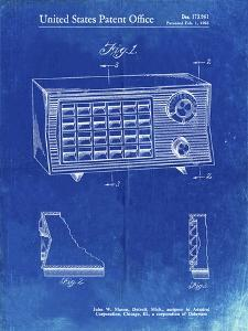 PP1126-Faded Blueprint Vintage Table Radio Patent Poster by Cole Borders