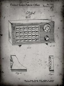PP1126-Faded Grey Vintage Table Radio Patent Poster by Cole Borders