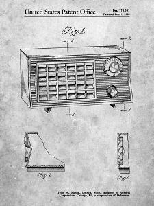 PP1126-Slate Vintage Table Radio Patent Poster by Cole Borders