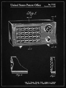 PP1126-Vintage Black Vintage Table Radio Patent Poster by Cole Borders