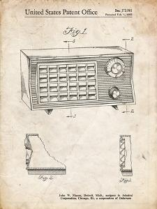 PP1126-Vintage Parchment Vintage Table Radio Patent Poster by Cole Borders
