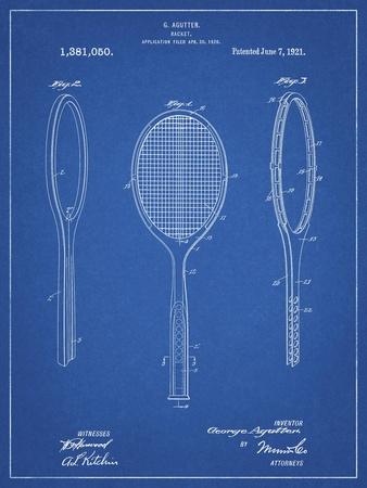PP1128-Blueprint Vintage Tennis Racket Patent Poster