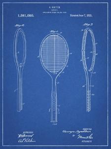 PP1128-Blueprint Vintage Tennis Racket Patent Poster by Cole Borders