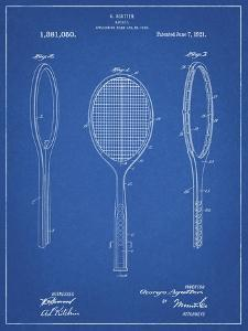 PP1128-Blueprint Vintage Tennis Racket Patent Poster by Cole Borders