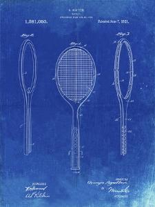 PP1128-Faded Blueprint Vintage Tennis Racket Patent Poster by Cole Borders