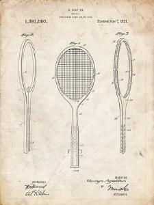 PP1128-Vintage Parchment Vintage Tennis Racket Patent Poster by Cole Borders