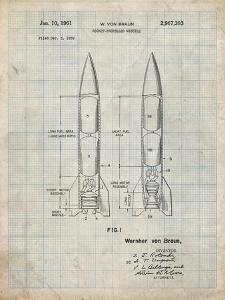 PP1129-Antique Grid Parchment Von Braun Rocket Missile Patent Poster by Cole Borders