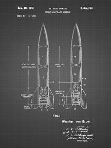 PP1129-Black Grid Von Braun Rocket Missile Patent Poster by Cole Borders