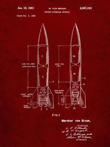 PP1129-Burgundy Von Braun Rocket Missile Patent Poster by Cole Borders