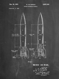 PP1129-Chalkboard Von Braun Rocket Missile Patent Poster by Cole Borders