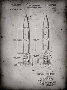 PP1129-Faded Grey Von Braun Rocket Missile Patent Poster by Cole Borders
