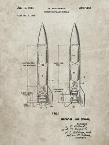 PP1129-Sandstone Von Braun Rocket Missile Patent Poster by Cole Borders
