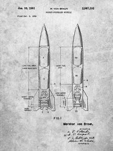 PP1129-Slate Von Braun Rocket Missile Patent Poster by Cole Borders