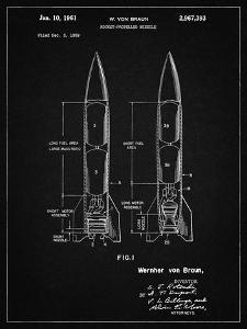 PP1129-Vintage Black Von Braun Rocket Missile Patent Poster by Cole Borders