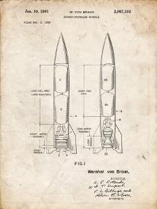 PP1129-Vintage Parchment Von Braun Rocket Missile Patent Poster by Cole Borders