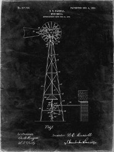 PP1137-Black Grunge Windmill 1906 Patent Poster by Cole Borders