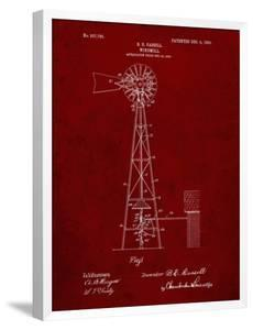 PP1137-Burgundy Windmill 1906 Patent Poster by Cole Borders