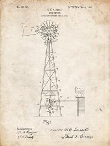 PP1137-Vintage Parchment Windmill 1906 Patent Poster by Cole Borders