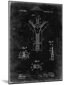 PP1143-Black Grunge Zipper 1917 Patent Poster by Cole Borders