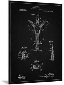 PP1143-Vintage Black Zipper 1917 Patent Poster by Cole Borders