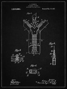 PP1143-Vintage Black Zipper 1917 Patent Poster by Cole Borders