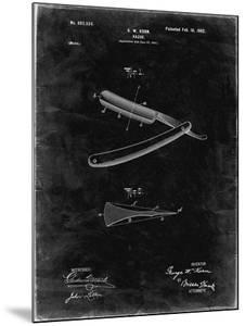 PP1178-Black Grunge Straight Razor Patent Poster by Cole Borders