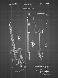 PP121- Black Grid Fender Broadcaster Electric Guitar Patent Poster by Cole Borders