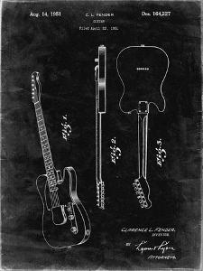 PP121- Black Grunge Fender Broadcaster Electric Guitar Patent Poster by Cole Borders