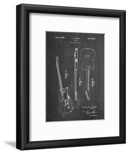 PP121- Chalkboard Fender Broadcaster Electric Guitar Patent Poster by Cole Borders
